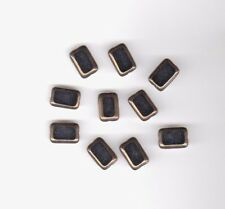 Vintage jet black rectangular glass beads with gold edges--12 mm.