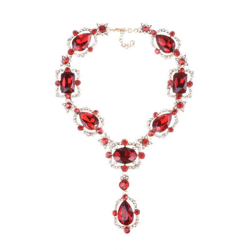 Collana Corto Dorato Pendente Goccia red Cristallo Brillante Vintage