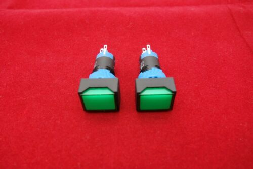 2PCS Cutout 12MM 12V Green LED ILLUMINATED Rectangular Momentary PUSH BUTTON