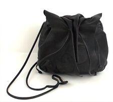 Carlos Falchi Black Pebbled Leather Buffalo Shoulder Bag Purse Handbag Small