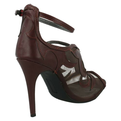 L3411 Sandali Toe Peep sera Ladies Borgogna Michelle da Anne High Womens Stiletto UBB0Wv
