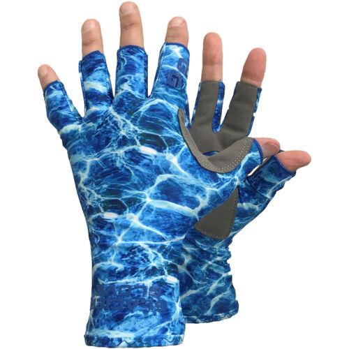 Blue Water Camo Glacier Glove Islamorada Fingerless Sun Gloves