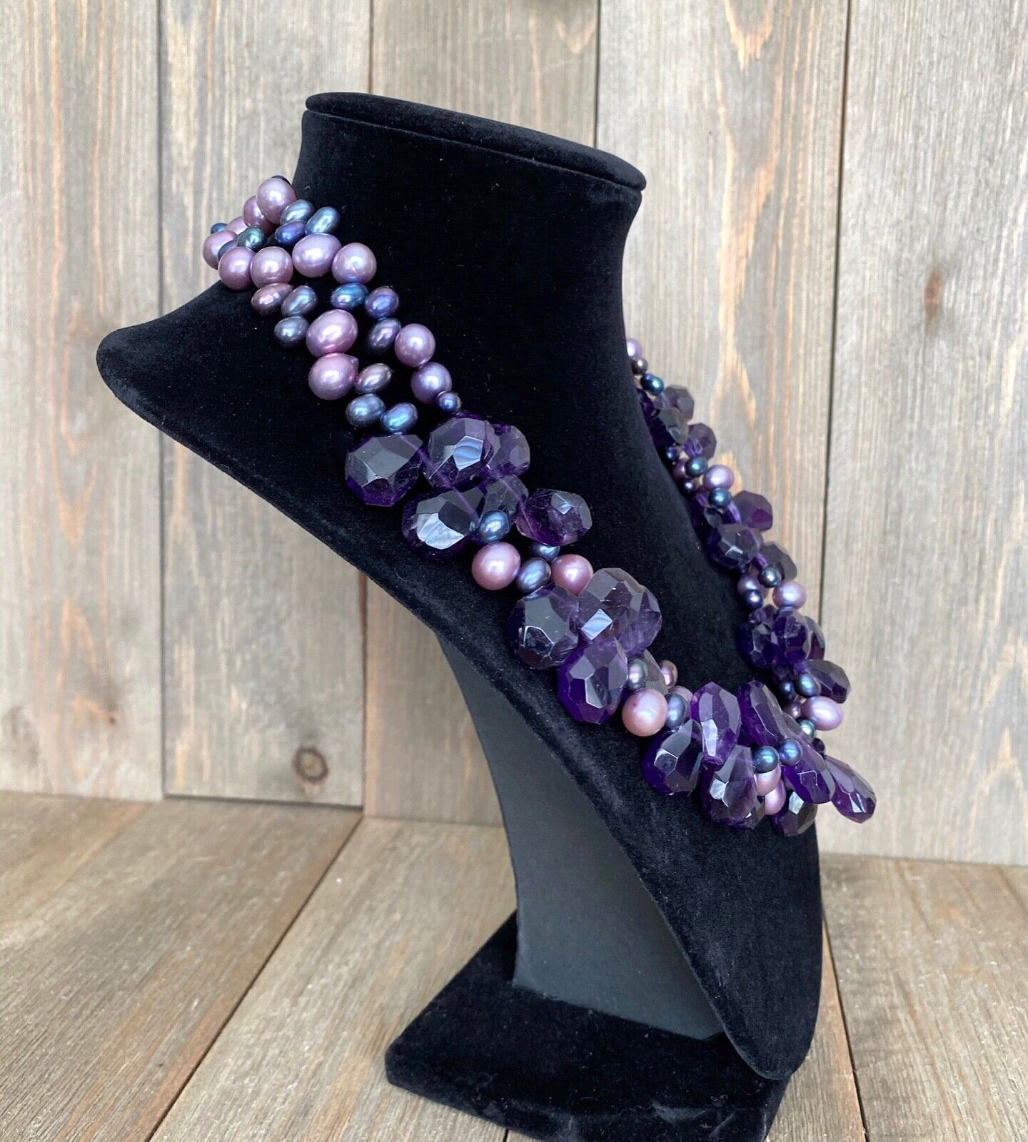 Necklace Amethyst Pearls Cluster Diana Venezia Ra… - image 3