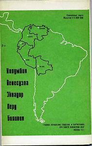Colombia Venezuela Ecuador Peru Bolivia Russian Soviet USSR 1982 Map Index
