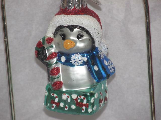 "RADKO CELEBRATIONS MINI 3"" Penguin  CHRISTMAS ORNAMENT NEW red Hat candy cane"