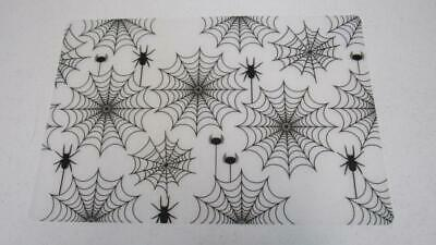 Halloween Placemat Clear Vinyl With Spiders W Web Gothic