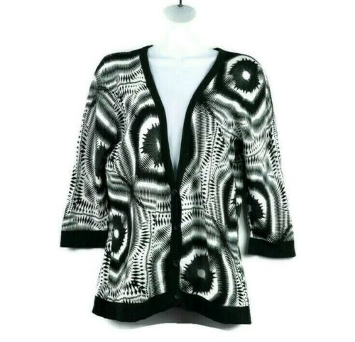 Tribal Womens Black White Cardigan Medium V Neck P