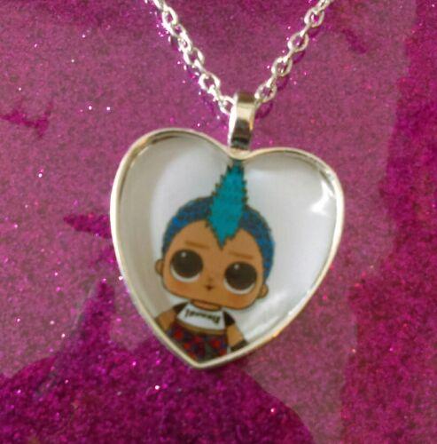 Silver Plated Heart Pendant Necklace LOL Doll  Punk Boi Boy