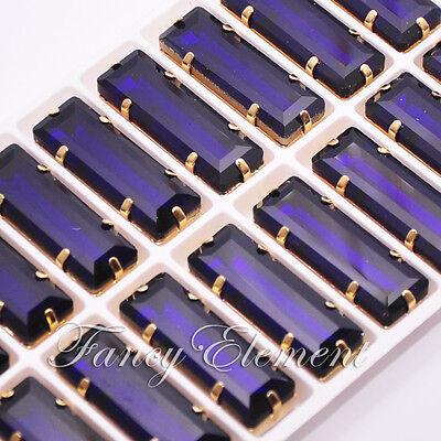 18pcs Glass Baguette 4547 10x30mm Clear Crystal Metal Plate Sew On Rhinestones