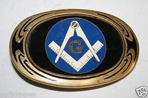 Vintage-1983-Freemasons-Blue-Compass-Logo-Solid-Brass-Belt-Buckle-Rare