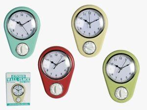 Details zu Küchenühr Küchen Uhr mit Timer Eieruhr Rot Türkis Grün Beige  Wanduhr Küche Retro