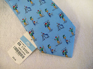 J-McLaughlin-100-Silk-034-On-the-Road-034-Print-Necktie-NWT-75-Light-Blue