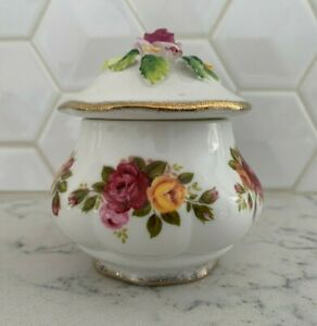 Vintage Fine Bone China Cottage Rose Sugar Or Trinket Bowl W Lid Ebay