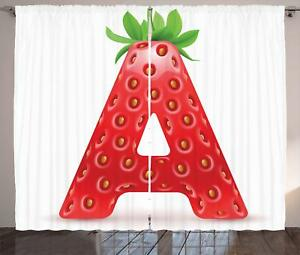 Image Is Loading Strawberry Letters Curtains 2 Panel Set Decoration 5