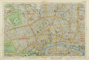 Map Of London Central.Details About London Central Westminster West End City Islington Southwark Bacon 1934 Map