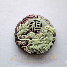 Chinese Zipaoyu Purple Jade Carved Fu Dragon Lucky Jade Pendant Rope Necklace