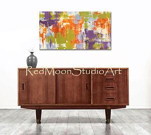 48x24-Abstract-Art-Painting-Orange-Green-Purple-and-Gray-US-Artist-Mid-Century