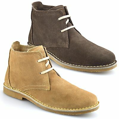 Mens New Leather Suede Memory Foam Casual Ankle Desert Walking Boots Shoes Size