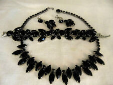 RARE Necklace-Bracelet-Earring SET-Vintage WEISS Signed-  Black Faceted Glass !!