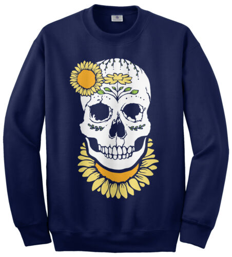 Sunflower Skull Unisex Sweatshirt Cute Girl Skull Gift Idea
