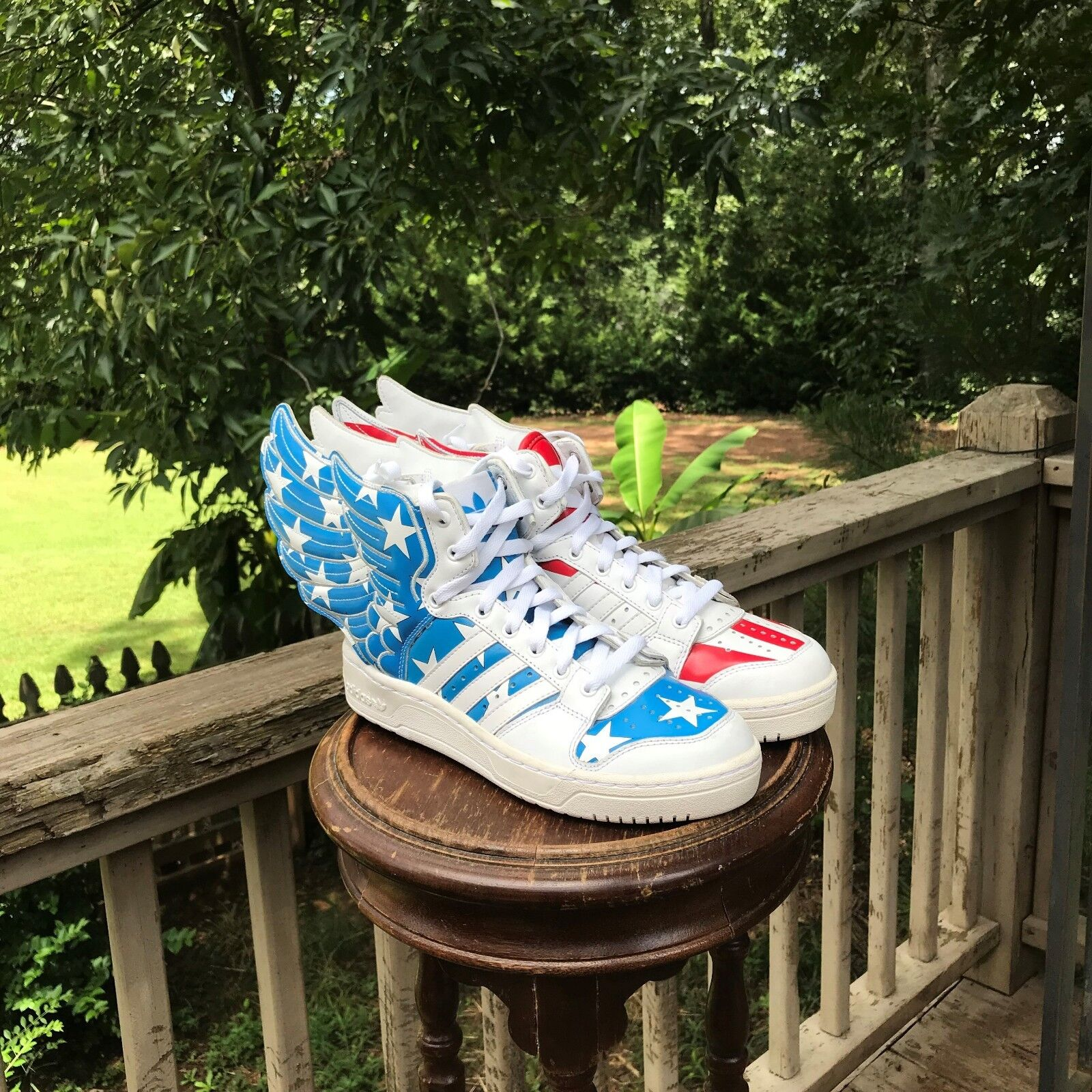 AUTHENTIC Size 6.5 Adidas Jeremy Scott Wings 2.0 US FLAG STARS and STRIPS V24619