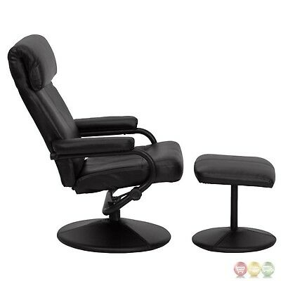 lowest price 61d45 53b65 Contemporary Black Bonded Leather Swivel Reclining Glider Chair & Ottoman  Set 847254015721 | eBay