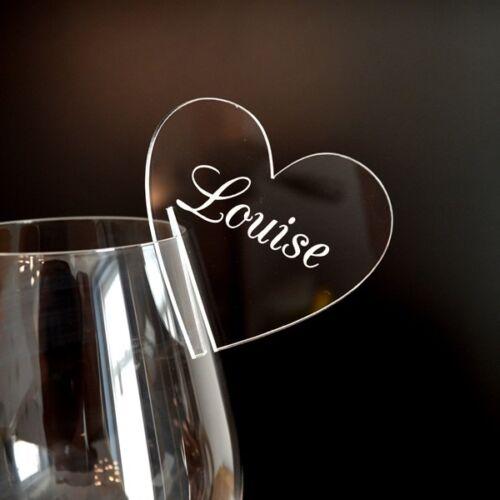 Personnalisé Coeur Mariage Table De Fête Lieu Nom Cartes pour VIN CHAMPAGNE VERRE