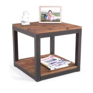 Vintage End Side Table Wood Metal Industrial Farmhouse 19 7 Night Stand Brown 792977256169 Ebay