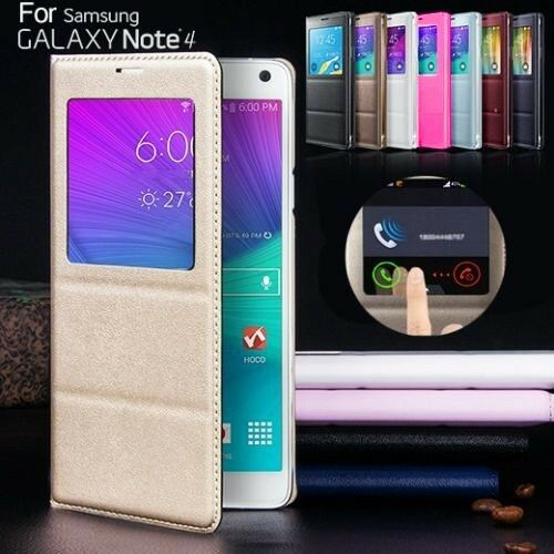 New Leather Smart Flip S-VIEW Cover for Samsung Galaxy Note 4 Case N9100