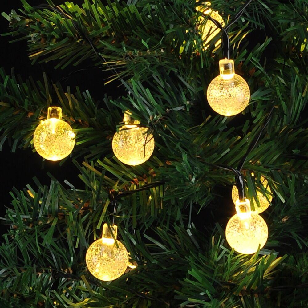 Solar crystal ball fairy string light wedding outdoor garden garland home decor ebay - Garden solar decorations ...