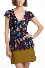Anthropologie Meadow Rue Bird Print Navy Blouse Top Shirt 0 Small XS