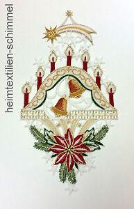 PLAUENER-STICKEREI-Fensterbild-WEIHNACHTEN-Winter-SCHWIBBOGEN-Dekoration-KERZEN