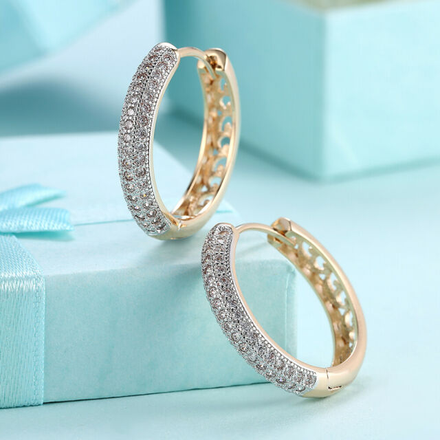 Front-Back Hoop Earrings in 14K Yellow Gold Plated made with Swarovski Crystals