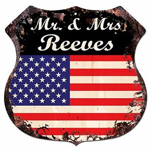 BPLU0358-America-Flag-MR-amp-MRS-REEVES-Family-Name-Sign-Decor-Wedding-Gift