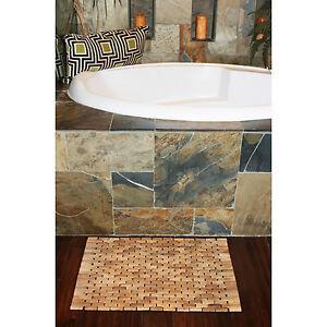 teak indoor outdoor bath and shower mat ebay