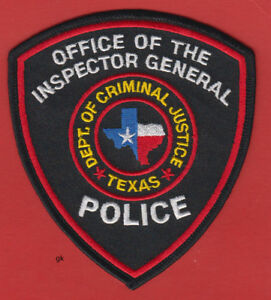 Details about TEXAS DEPARTMENT  OF CRIMINAL JUSTICE INSPECTOR GENERAL  POLICE PATCH
