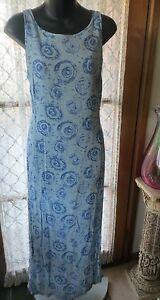 VINTAGE-ESPRIT-Blue-Pattern-Maxi-DRESS-Size-12-REDUCED