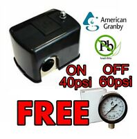 Pressure Switch 40/60 With Free Pressure Gauge American Granby No Lead For Pump