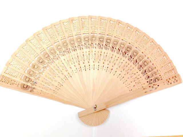 Wedding Hand Fragrant Party Carved Bamboo Folding Fan Chinese Style Wooden/_vi
