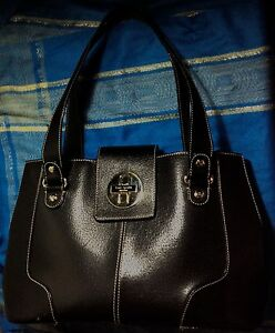 Turn Shoulder Lock Black Leather Spade Medium Bag New Handbag Kate York m0OvnyNw8
