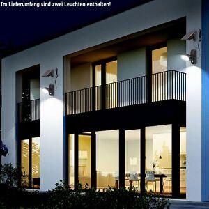 jeu de 2 led lampe solaire ext rieur jardin spot murale d tecteur mouvement ebay. Black Bedroom Furniture Sets. Home Design Ideas