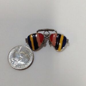 7536c70fcb36 Vintage 60's 70's Enamel Brooch Funky Aviator Glasses Multicolor ...