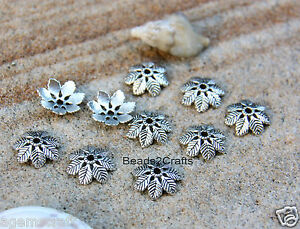 18-Crafted-silver-tone-alloy-7-Leaves-Textured-Bead-Caps-14x4mm-Craft-Art-New
