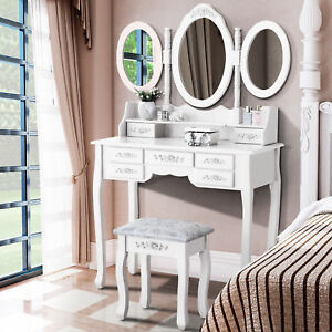 White Tri-Folding Mirror Vanity Set 7 Drawers Dressing Table Makeup Desk & Stool
