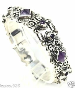 Vintage 925 Silver Mexican Victorian Style Sol Bracelet