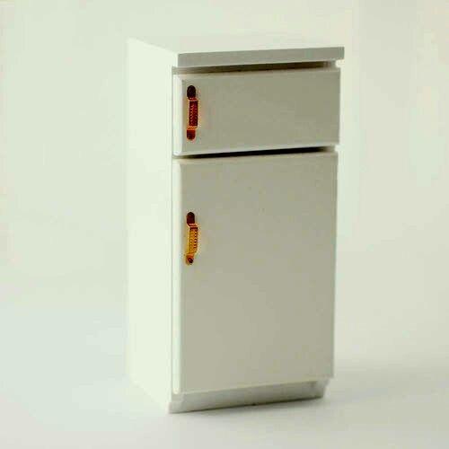 Fridge Freezer With Brass Handles,  Dolls House Miniature Kitchen Appliances