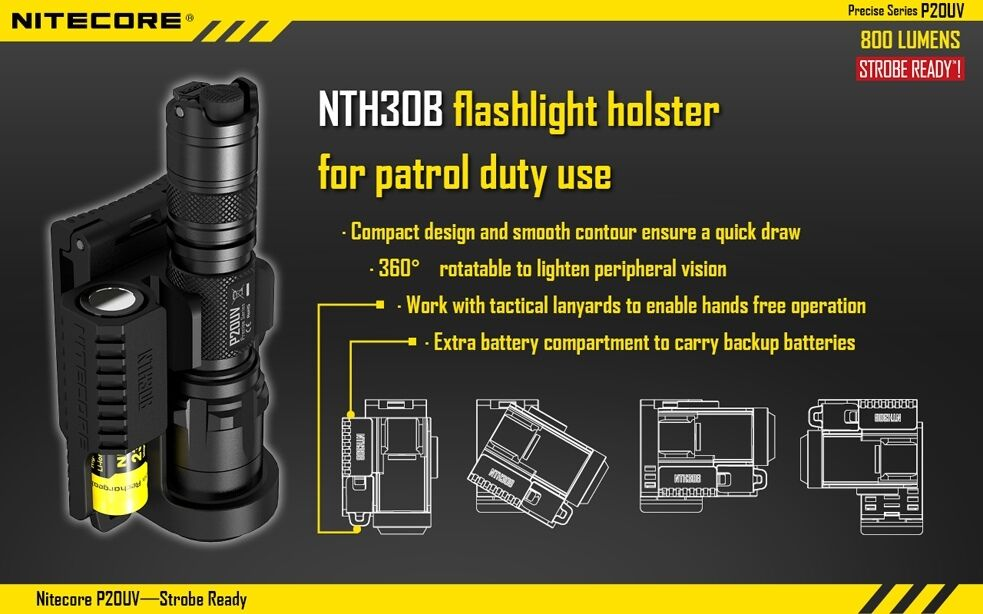 Nitecore P20UV Strobe Ready LED Flashlight w holster NTH30B Tactical holster w dfa9e2