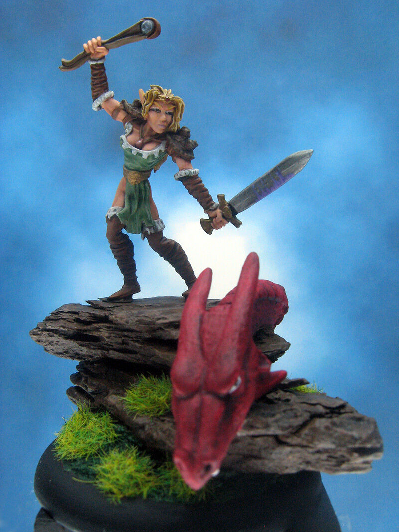 Painted Ral Partha MageKnight Miniature Elf Scout Slaying Dragon