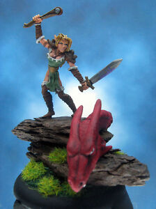 Painted-Ral-Partha-MageKnight-Miniature-Elf-Scout-Slaying-Dragon