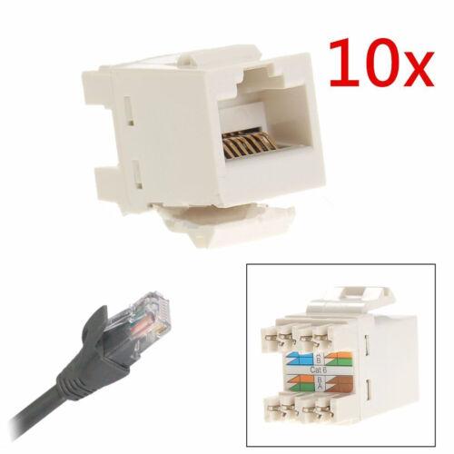 10pcs Cat 6 RJ45 Punchdown Keystone Modular Ethernet Snap-in Jack Networ   JKP